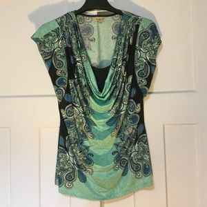 Green/Turquoise Paisley Scoop Neck Top